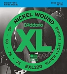 0-EXL220 XL NICKEL WOUND Струны для бас-гитары Long Super Light 40-95 D`Addario